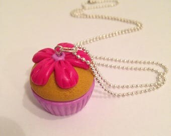 """Necklace fimo """"pink flower cupcake"""""""
