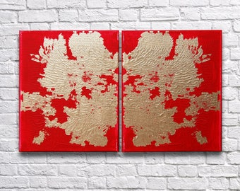 """RoR #13 Red & Gold Rorschach Acrylic Wall Art Twin Canvas Set (8"""" x 10"""" each   total 16"""" x 10"""")"""