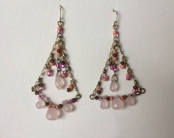 Retro 1980's Pink Faceted Lucite Beads Dangle Drop Statement Earrings