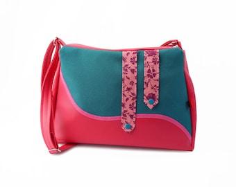 """""""Sorbet"""" teal and pink shoulder bag"""