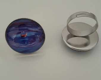 Purple and blue rain drop ring