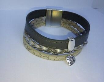 Woman leather bracelet gray tones - magnetic clasp.