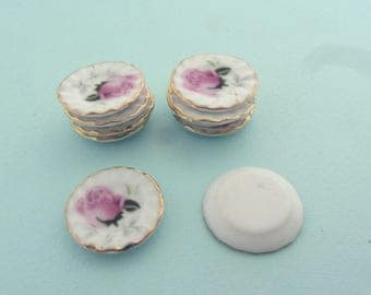Set of 10 miniature plates (or dishes) in porcelain - Miniature crockery for dollhouses or miniature food creations - Rose pattern