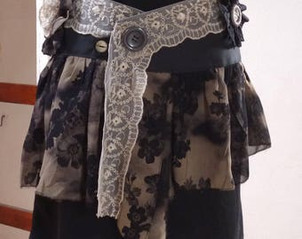 skirt fabric, lace and chiffon, Gothic style