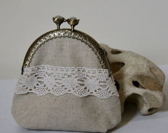 Shabby antique beaded, shutting canvas cotton linen and lace wallet