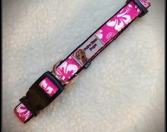 Medium Pink Hawaiian Breeze dog collar