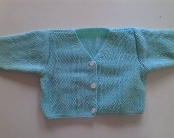 Hand knitted blue Cardigan Moss t 6/9 months