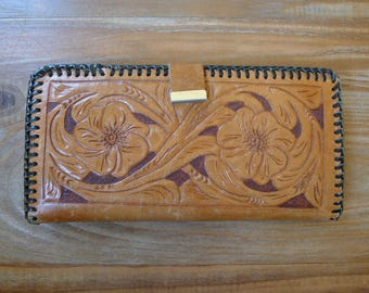 Hand Tooled Leather Wallet - with R.V. Initials