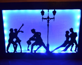 Decorative table light wooden tango dancers