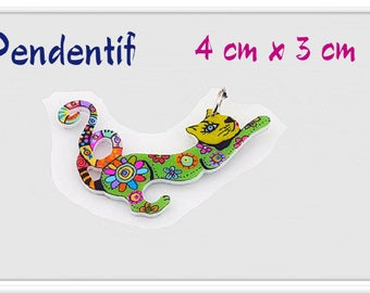 Bright multicolor acrylic cat pendant double-sided print