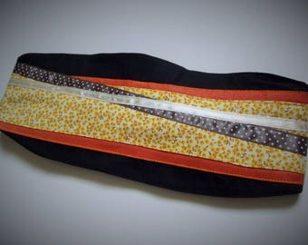 Hair band cotton black/orange/yellow flowers, country style
