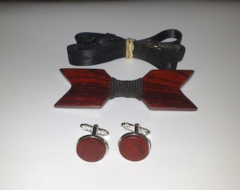 Bow tie set + cufflinks made of Cocobolo wood