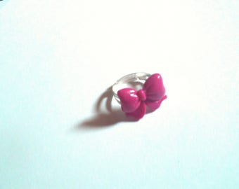 Pink delicate bow ring