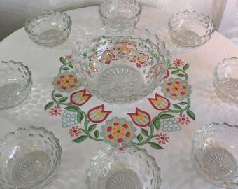 Fostoria American fruit/salad bowls 9 piece serving set - FREE shipping U.S.