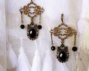 Bronze and Pearl black Victorian Bohemian earring