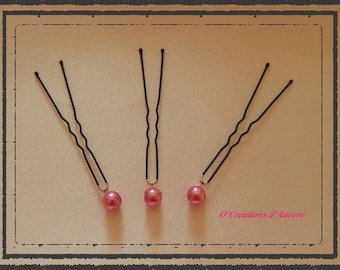 This hair stick, bead glass Pearl 8mm hot pink, sold individually