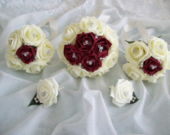Burgundy & ivory wedding bouquet package. Wedding flowers.