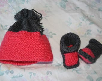 set hat and booties for girl birthstone