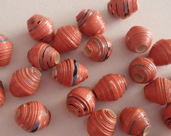 Burgundy rust toned paper beads