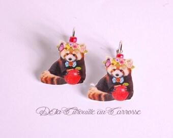 Raccoon Apple wreath earrings