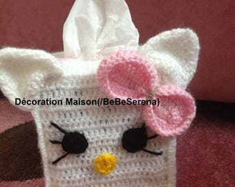 CAT and Butterfly crochet Towel holder