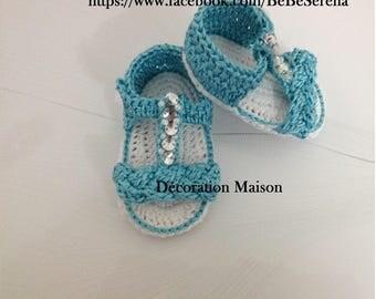 Summer baby blue turquoise beaded crochet sandals
