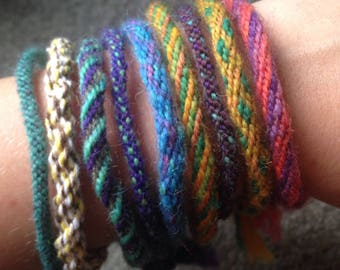 Handmade adjustable woven yarn bracelet
