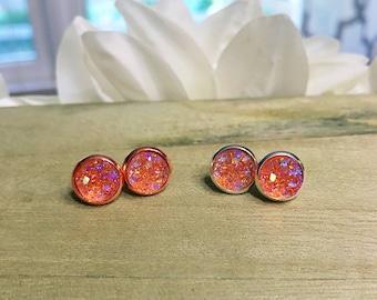 Peach Druzy Stud Earrings