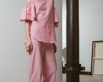 Hampstead Kitty Frill Sleeves and matching apartment pyjamas