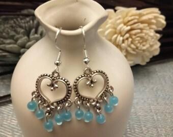 Blue cat eye beads and silver metal heart earrings