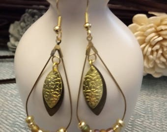 Gold and bronze drop shape hoop earrings