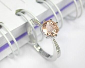 Natural peach morganite ring sterling silver wedding ring.