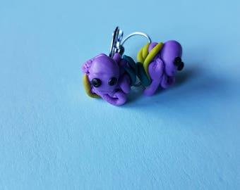 Polymer clay octopus earrings