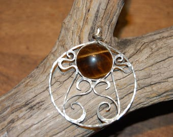 sterling silver lace setting Tiger eye pendant