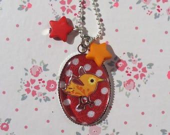 "Necklace ""Inseparable"" - bird fabric, yellow orange, Star"