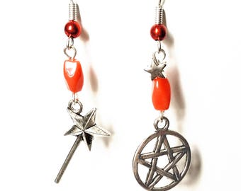 Earrings 'Halloween', magic wand, pentacle, Orange beads.