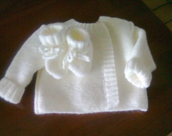 set baby jacket and booties size 1 month