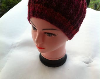Pink red ombre Beanie knit lace wool and acrylic