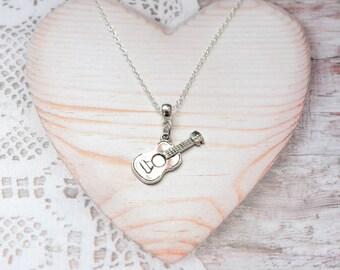 Guitar charm pendant chain necklace
