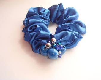 polyester satin hair scrunchie blue wooden beads