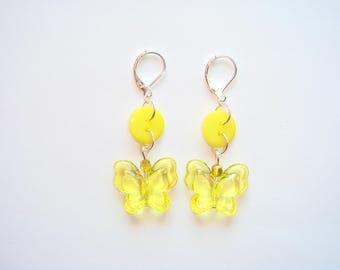 Butterfly earrings acrylic button fancy yellow