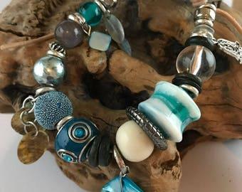 Sea Mist - Bohemian bracelet, Leather bracelet, Bohemian bracelets for women, Boho bracelet, Ethnic bracelet