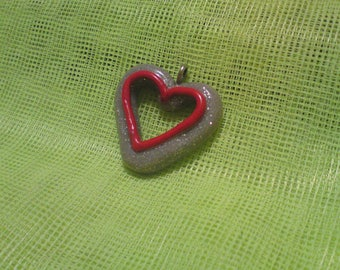 Pretty heart pendant polymer clay grey glitter and red.