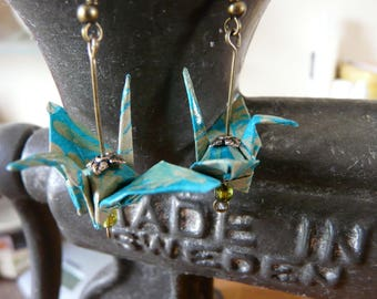 Teal and grey paper crane origami earrings