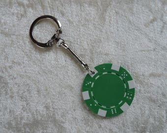 Green poker chip, rollers & flambeuses keychain