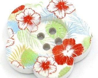 BBFL27102 - 2 flower 27 mm wooden buttons