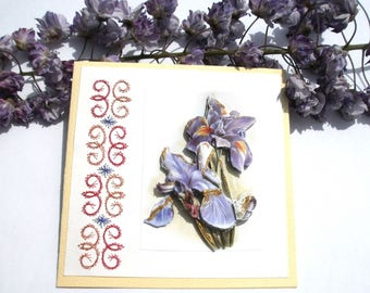 64 - Greeting card embroidered blue iris 3D mother of
