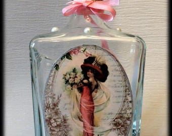 """Shabby chic """"bouquet of roses"""" decanter"""