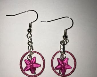 Small Hooped Pink Star Earrings