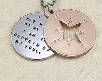 """I Am The Master Of My Fate  I Am The Captain Of My Soul""""-William Ernest Henley """"Invictus // Compass Jewelry Necklace"""